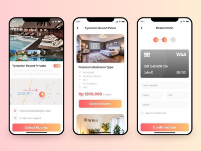 Hotel Booking Gradient Style uidesign uxdesign hotelbooking