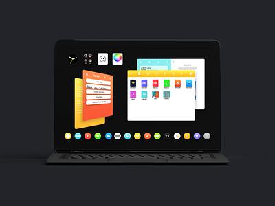 3D Windows + Widgets blck os blck redesign concept operating system 3d windows widgets black concept operating system 3d ui