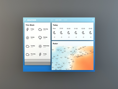 Weather App in 3D os blck paper design weather app ui app maya concept operating system vector 3d blckos