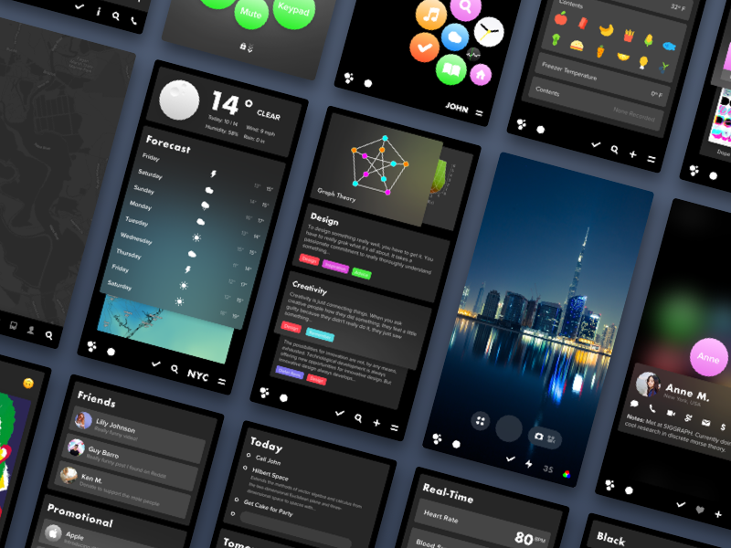 Apps - Night Mode vectoros vector preview paper design concept operating system concept blckos blck apps