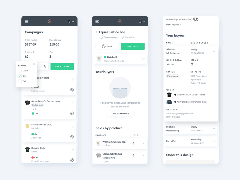 Mobile dashboard buyers activity feed bonfire orders popover card list card order list status filter dashboard ui dashboard