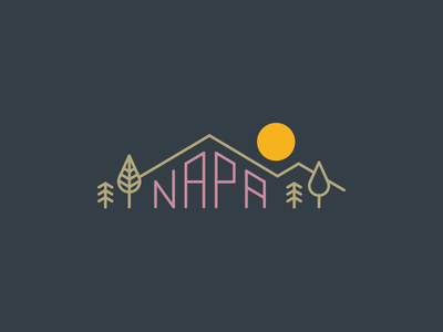 Napa hills valley illustration mountains napa valley typography napa