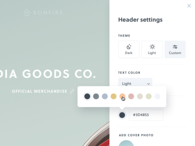 Theme picker & settings UI