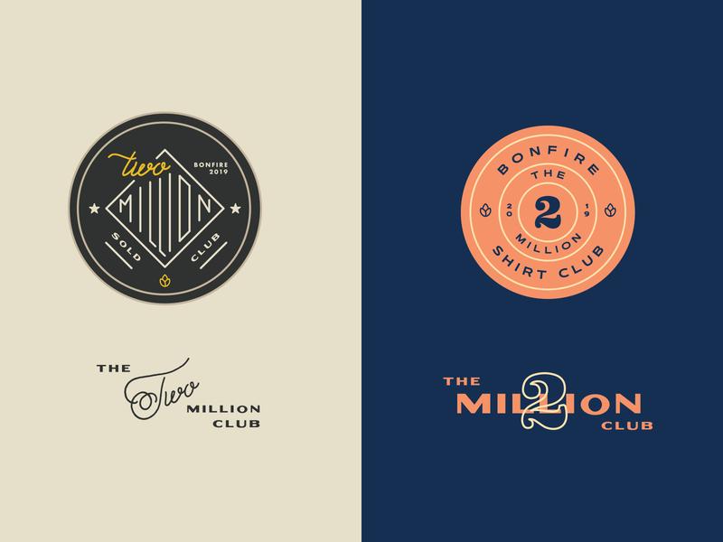 The Two Million Club badge bonfire million lettering typography pin badge enamelpin pin
