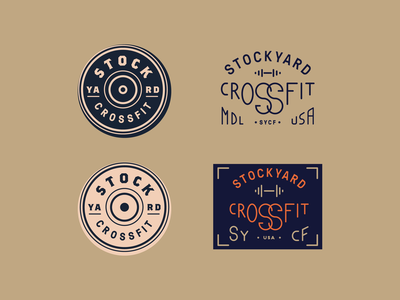 Stockyard Crossfit barbell dumbbell lifting weights gym badge lettering typograpy crossfit
