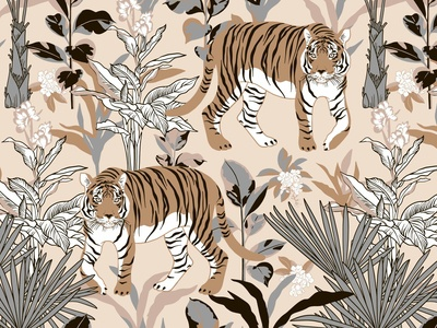 Seamless pattern with tiger in the tropics