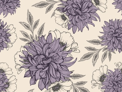 Floral seamless pattern with dahlias and poppies