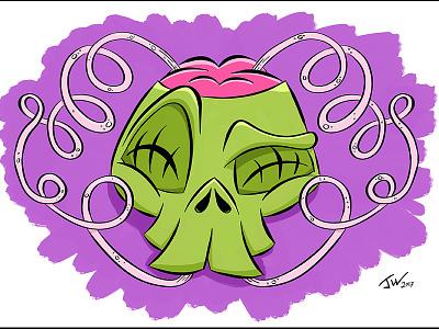 Hydrate! Zombie Skull drink straw digital art procreate ipad pro character cartoon brain zombie hydrate