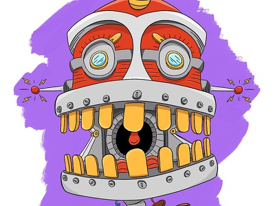 Crunchbot photoshop cartoon robot digital art procreate ipad pro character