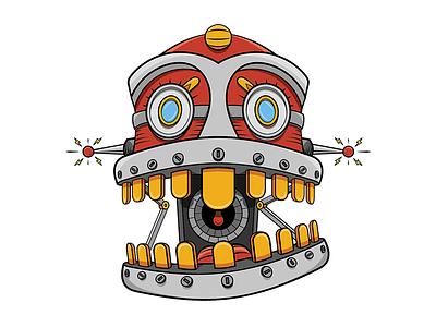 Crunchbot 2.0 technology cartoon character photoshop clunky digital illustration robot