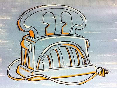 Toast-Bot cartoon paint ink posca character toaster robot