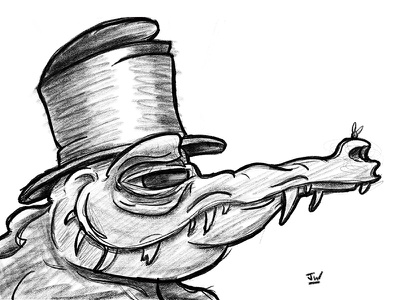 Gator Gentleman stylized cartoon character digital top hat animal pencil procreate