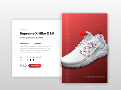 Nike Huarache Product Card gradient color ui  ux concept collaboration sneakerhead webdesign web branding ui design