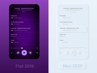 Neu Player Redesign concept color shadow skeumorphic player 2020 trend ux  ui mobile app mobile ui redesign design neumorphism