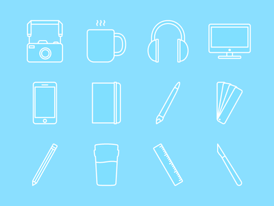 Tools of the Trade scalpel ruler pencil pantone paintbrush moleskine iphone imac music coffee camera icon
