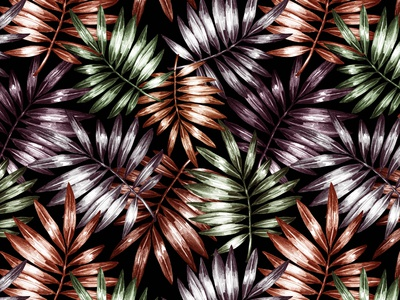 Abstract drawn graphic seamless pattern of leaves.