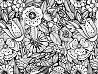 Graphic floral seamless pattern