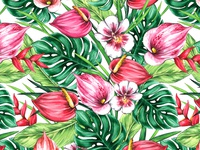 Seamless floral pattern of tropical flowers and leaves.
