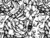 Seamless pattern with snakes and flowers.