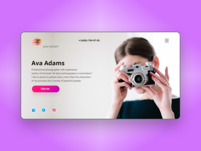 Photographer Ava Adams - website concept design