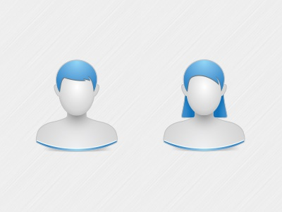 Male & Female Icons people male female icon human generic blue grey white silver faceless illustrator