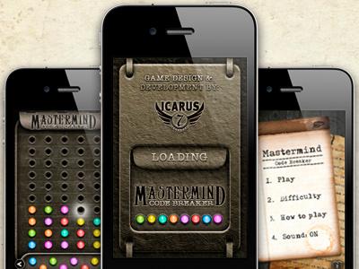Mastermind iPhone App interface gui games iphone app design