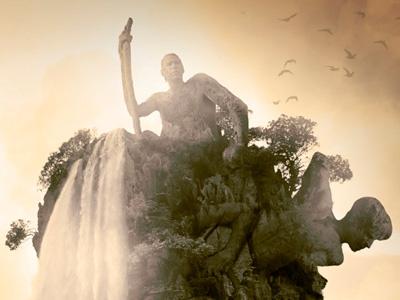 The Shepherd photo-manipulation photoshop design blending yellow orange water waterfall distorted earth