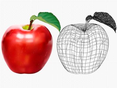 Apple Fudge Logo WIP apple logo vector illustrator green red wireframe