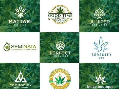 creative cannabis hemp weed marijuana cbd oil logo 2 icon animation vector logo illustrator design typography minimal illustration branding
