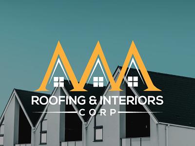 AAA ROOFING   INTERIORS vector house home real estate flat logo design illustrator typography minimal illustration branding