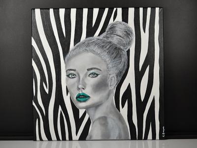 femme portrait toile art peinture illustration