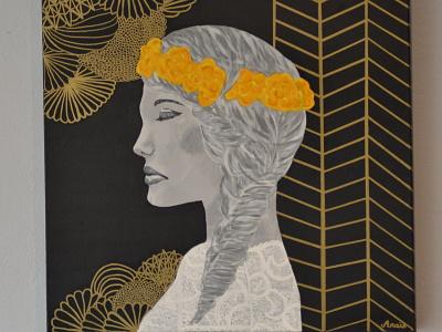 femme fleurs toile peinture art