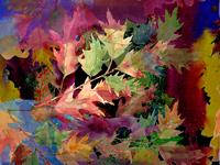 Watercolor colorful leaves  oak.