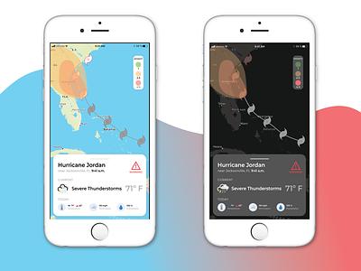 Hurricane Tracker Application hurricane dark mode minimal design ux uiux uidesign ui xd illustrator tracking weather application app
