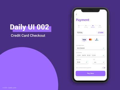 Daily UI 002 - Credit Card Checkout dailyuichallenge dailyui 002 dailyui ui design challenge ui design ux design ux credit card checkout credit card payment credit card payment design application ui interface