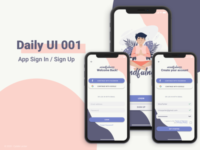 Daily UI 001 - App Sign In / Sign Up daily ui challenge daily ui 001 daily ui dailyui figma design figma sign up screen sign in screen sign in ui sign up page sign up form sign up ui sign up sign in form sign in page sign in design application ui interface