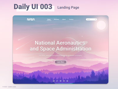 Daily UI 003 - Landing Page challenge daily 100 challenge ux design ui design daily ui branding dailyui design ui interface landing pages nasa landing page concept landing page ui landing page design landing page