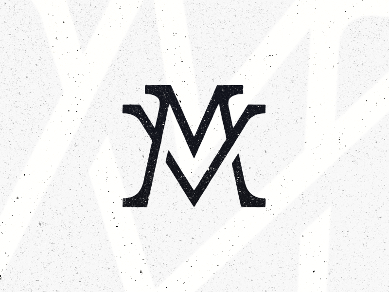 MV // Monogram Logo white cream blue logo design adobe photoshop illustrator concept logo