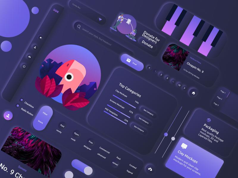 Vibreto UI Kit - Dark Neumorphic Design adobe xd  photoshop  ui ux vector app adobe xd web neumorphic figma ux ui design