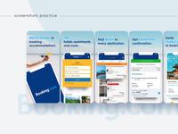 Screenshots redesign for Booking.com