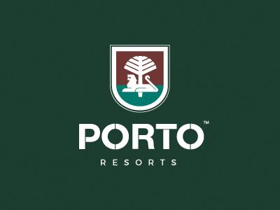 Porto Resorts crest heraldic heraldry shield brand branding elegant classic design vector forsale logo tree lion