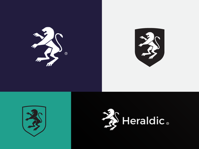 Heraldic Lion brand elegant animal classic vector eddarqaoui forsale logotype design logo identity branding classy shield leo crest heraldry heraldic lion