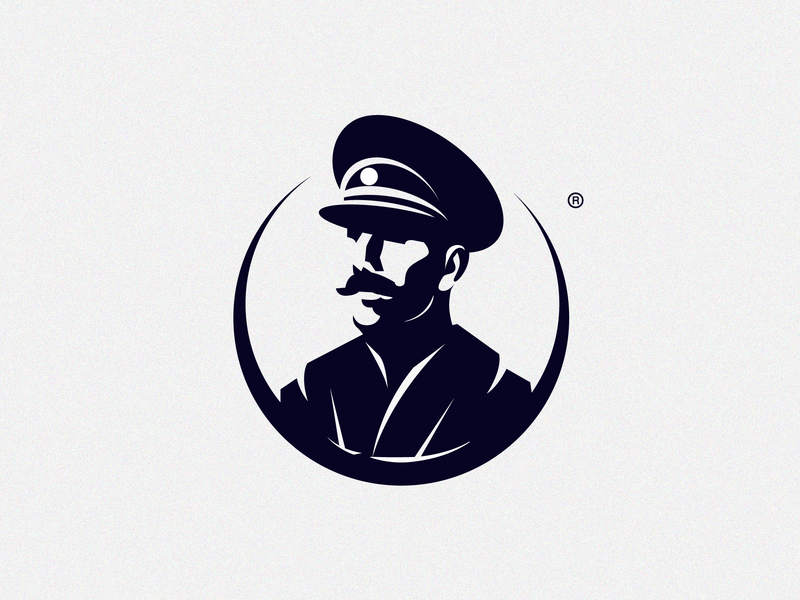 Captain forsale moustach cap hat face vector brand logo boss sea concept army chef captain