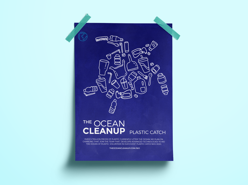 Ocean Cleanup Poster print design design ocean ecofriendly plastic turtle illustration art illustrator illustraion poster design poster