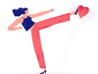 Valentine's day girlpower martial art kick heart fake valentinesday
