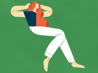Waiting for the Summer green stylized chilling geometric illustration flat vector character summer