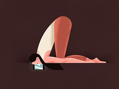 Lazy yoga girl social media yoga drawing illustration