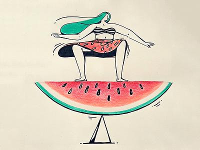 Balanced diet surf balance girl watermelon summer food
