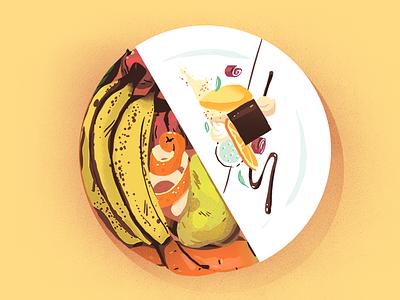stop food waste drawing illustration dessert food  drink sustainability cooking dish fruit veggies banana fine dining zero waste food