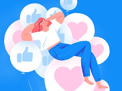 High on likes social media sketch drawing character cartoon balloons like illustration mental health